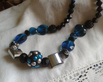 Unique blue black and silver bead necklace