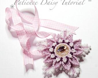 Flower beading tutorial - PDF download pattern - Patience Daisy - 18mm Swarovski rivoli bezel