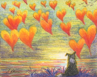 Border collie dog 8x10 art print - thinking of you with love