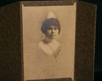 Antique Nurse Cabinet Photograph Tri-Fold Cover / 1920