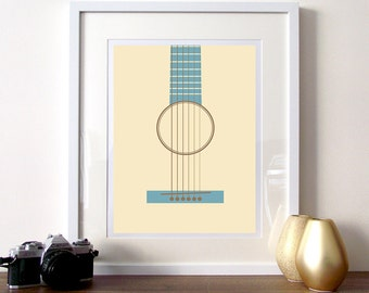 Music poster print, guitar print, minimalist music guitar poster, music art print, teal and cream print