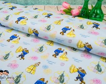 Jersey the BEAUTY and the BEAST  dance Disney castle  Disney license fabrics