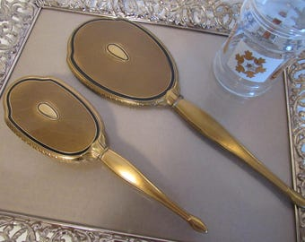 Vintage Art Deco Gold And Black Metal Hand Mirror And Brush Set Makeup Hand Held Beauty Vanity Mirror Bedroom Bathroom Decor Gifts For Women