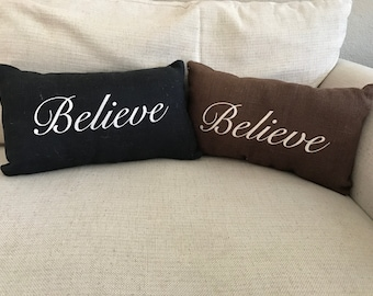 "Embroidered Burlap ""Believe"" Pillow"