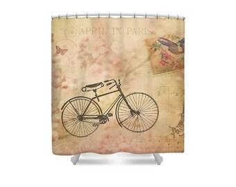 Paris Decor, Bike Shower Curtain, Pink Shower Curtain, French Decor, Paris Bathroom, Pink Bathroom, Bicycle Bathroom, Boho Decor, Spring
