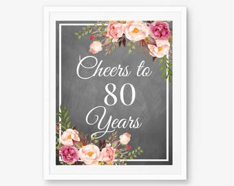 Cheers to 80 years, 80th anniversary, 80th birthday sign, 80th birthday decor, 80th birthday banner, 80th birthday gift, happy 80th, 80th