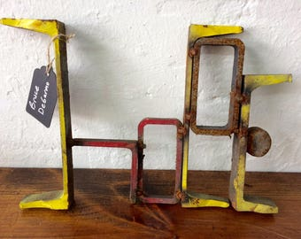 HOPE  rusty chippy upcycled art sculpture by Bruce DeGarmo