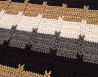 Crochet Striped and Braided Afghan Throw, Charcoal Gray Tan White