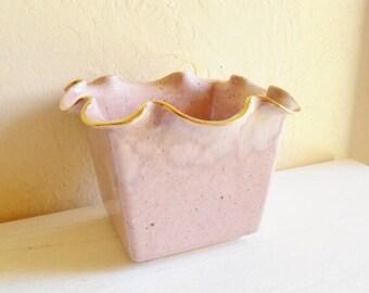 Vintage Ceramic Flower Pot with Ruffle Edges Pink Mauve with Gold Metallic Trim Glamorous Shabby Chic Farmhouse Glass Mid-Century Planter