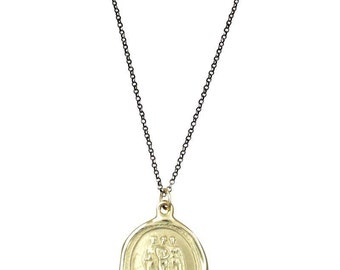10kt Gold Gratiae - The 3 Graces - Wax Seal Necklace - 241
