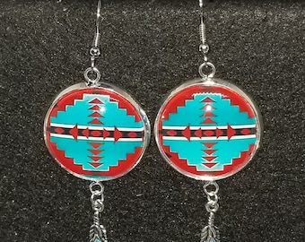 25 mm earrings with turquoise  southwest design and feather