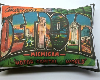 Vintage Detroit Michigan Style Pillow Cover with Pillow