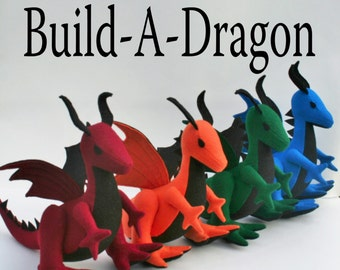 Build-A-Dragon ~ Personalized Plush Dragon ~ Custom Handmade-to-Order Eco Friendly Stuffed Dragon, Boys Gift, Custom Plushies, Plush Dragons