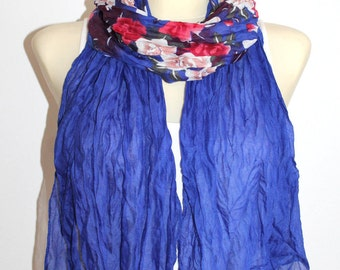 Blue Scarf Women Blue Red Scarf Blue Floral Scarf for Women Spring Scarf Blue Scarves for Women Bohemian Scarves Gifts for Mom Gift