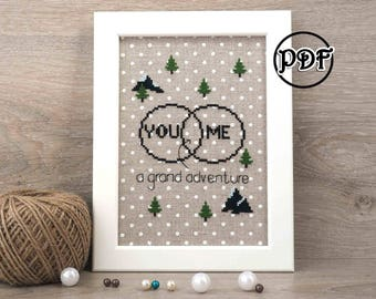 You & me cross stitch pattern Adventure cross stitch pattern Valentines day Modern cross stitch pattern Wedding Gift for him