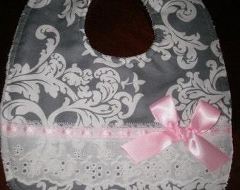 Baby Girl Bib, Newborn Gift, Shower Gift, Toddler, Baby Bib, Pink, Gray with Pink ,Bib, Fancy, Trendy, Elegant, Chic. Bows, Baby Bib