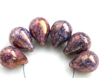 Lustered Purple Teardrop beads, Large briolettes, czech glass drops, travertin - 10x14mm - 6Pc - 1979