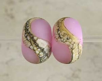 Glass Lampwork Bead Pair with Organic Silvered Ivory Web and Frosted Finish Small 11x7mm Pink Velvet