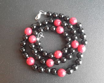 Onyx and Ruby Red Jade Necklace