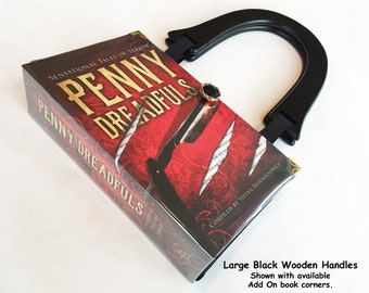 Penny Dreadfuls Recycled Book Purse - Frankenstein Book Bag - Sweeney Todd Book Cover Bag - Gothic Literary Gift - Horror Story Gift