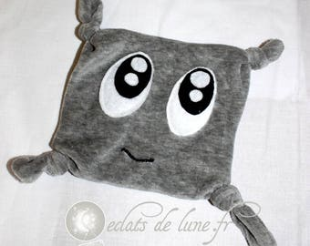 Flat plush with big grey eyes with personalization