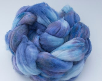 Hand Dyed Spinning Fiber- Superwash Merino Wool 4oz- Blueberry