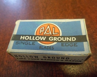 Vintage Pal Hollow Ground Razor Blade Box, Empty Single Edge Razor Blade Box  ( T )