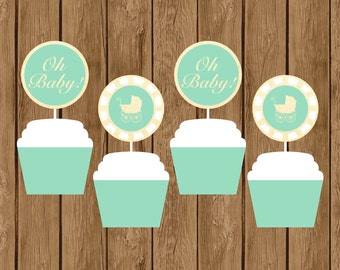 Mint and Gold Baby Shower Cake Toppers, Mint and Gold Baby Shower Decorations, Gender Neutral Baby Shower, Cake Toppers, Gold and Mint, 010