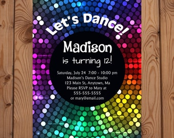 Dance Party Invitation, Dance Party Birthday Invitation, Dance Party Invite, Disco Party Invitation, Disco Party Invite, Dance Party Invites