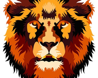 Lion. Cross Stitch pattern, Digital Download PDF. Geometric lion face design with beautiful color patches in his fur. Bright and Modern