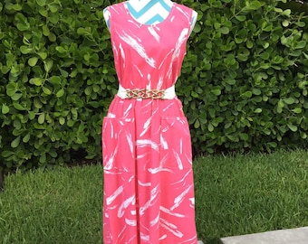 Vintage 1980s Sun Dress with Pockets Abstract Printed Cotton Dress Pink White Sleeveless Small Medium