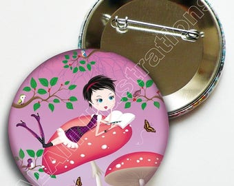 "Badge pin 45 minutes ""Writer"" pink background, accessory, gift"