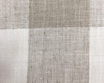 very french RUSTIC WOVEN buffalo check grayish and almost white linen/ lots of textures tweed multipurpose fabric