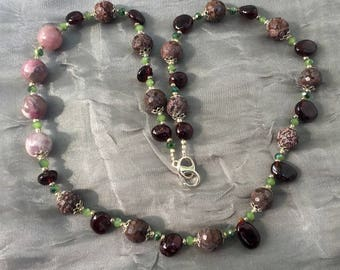 "Asymmetrical rhodonite garnet tourmaline necklace, 20"" long, Taupe burgundy, Semiprecious stone, Gemstone jewelry, Special occasion, OOAK"