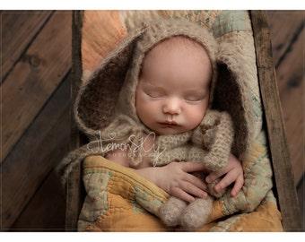 newborn mohair bunny bonnet , newborn bunny set , newborn bunny hat , newborn bunny teddy, Easter prop, photography prop, mohair bonnet,