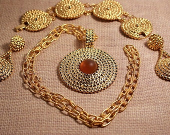 Avon Gold Tone Medallion Necklace, Clip Earrings, Bracelet - Vintage 1992