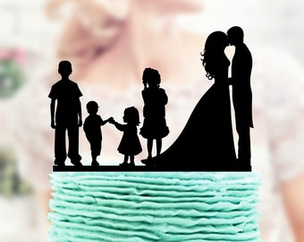Family Cake Topper, Custom Wedding Topper, Bride and Groom with two Boys + two little girls Cake Topper, Couple with child Cake Topper