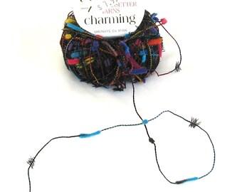Charming 100, Trendsetter yarn, metallic, multicolor on black, 120 yards, 2 available, destash