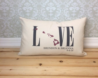 Hawaii Love Pillow, Lumbar Pillow, Love Pillow, Wedding Pillow, Anniversary Pillow, Personalized Pillow, State Pillow, Hawaii Pillow