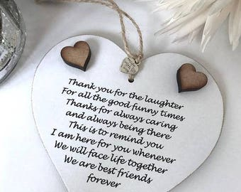 Thank You For The Laughter...Best Friends Forever Wall Hanging Sign/Plaque Gift/Keepsake Heart