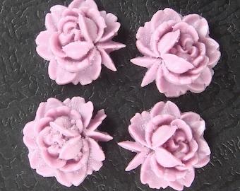57-00-257-CA  6Pcs  Flat Back Mini Roses - Light Violet
