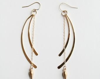 Long Gold Earrings, Modern Earrings, Spike Earring, Gold Earrings, Bohemian Earrings