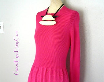 Vintage SWEATER Knit Maxi Dress Hot Pink Stretch Small / Floor Length Size 4 6 8 / Long Sleeve 1970s