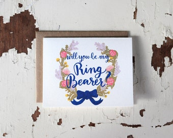 Will You Be Our Ring Bearer Card - Floral Wreath