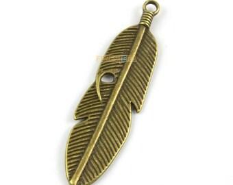 10Pcs Antique Brass Feather Charm Feather Pendant 59x15mm (PND1319)