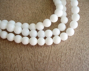 30 opaque 6mm white jade beads