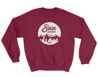 Boise Idaho State Sweatshirt - Cityscape Mountain Backdrop Shirt - Treasure Valley Meridian Nampa City Sweatshirt
