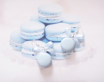 earrings blue macarons polymer clay