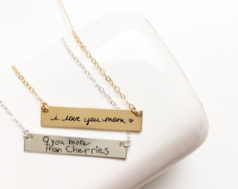 Custom Handwriting Necklace - Signature Necklace Engraved Signature Handwriting, Gift for Mom, Signature Necklace, Handwritten Necklace