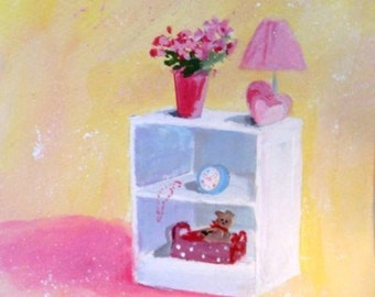 Original Painting - YOUNG GIRLS NIGHTSTAND - Small Art Format by Rodriguez